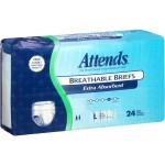 Attends Breathable Briefs, Extra Absorbency, Large, - 24CT
