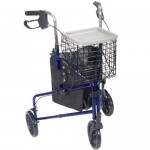 Drive Medical 3 Wheel Rollator Walker with Basket Tray & Pouch, Flame Blue