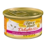 Purina Fancy Feast Grilled Gravy Wet Cat Food; Delights Grilled Chicken & Cheddar Cheese Feast - 3 oz. Can