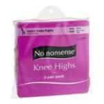 No nonsense Nylon Knee Highs Size One Nude Sheer Toe - 2 PR