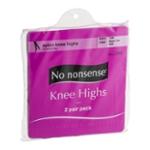 No nonsense Nylon Knee Highs Size One Tan Sheer Toe - 2 PR
