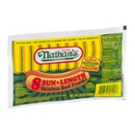 Nathan's Bun Length Skinless Franks Beef - 8 CT
