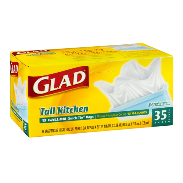 Glad Tall Kitchen Quick-Tie Trash Bags, 13 Gallon, 35 Count
