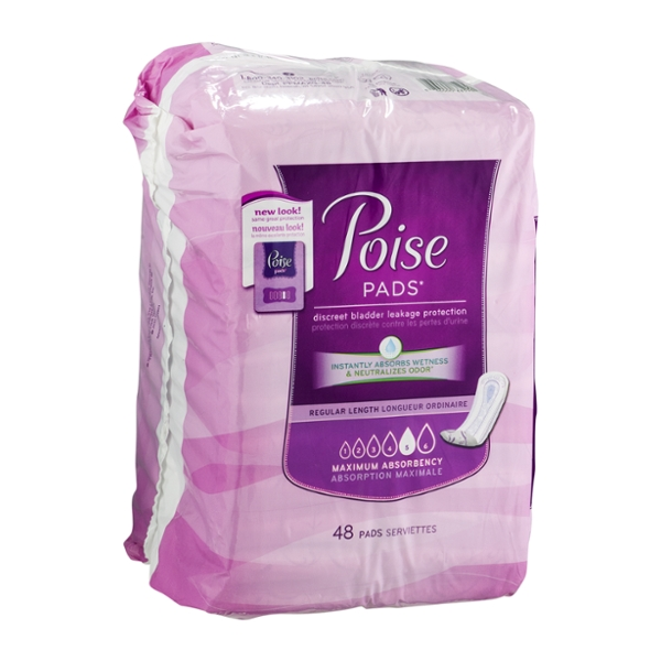 Poise Incontinence Pads, Maximum Absorbency, Regular, 48 Count
