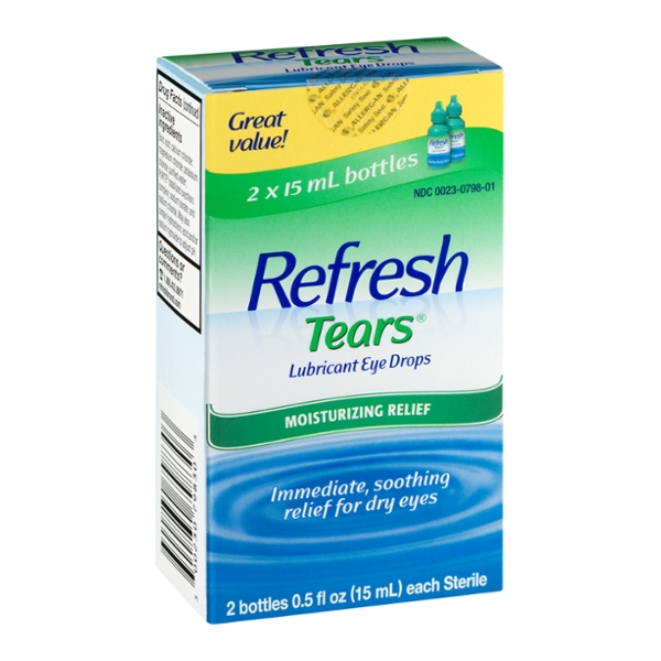 Refresh Tears Lubricant Eye Drops Moisturizing Relief Bottles - 2 CT