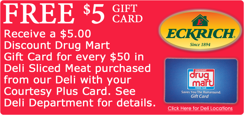 Free $5 DDM giftcard for every $50 spent on Eckrich deli sliced meat